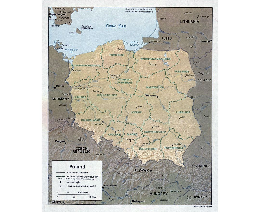 Large detailed political and administrative map of Poland with relief and major cities - 1999