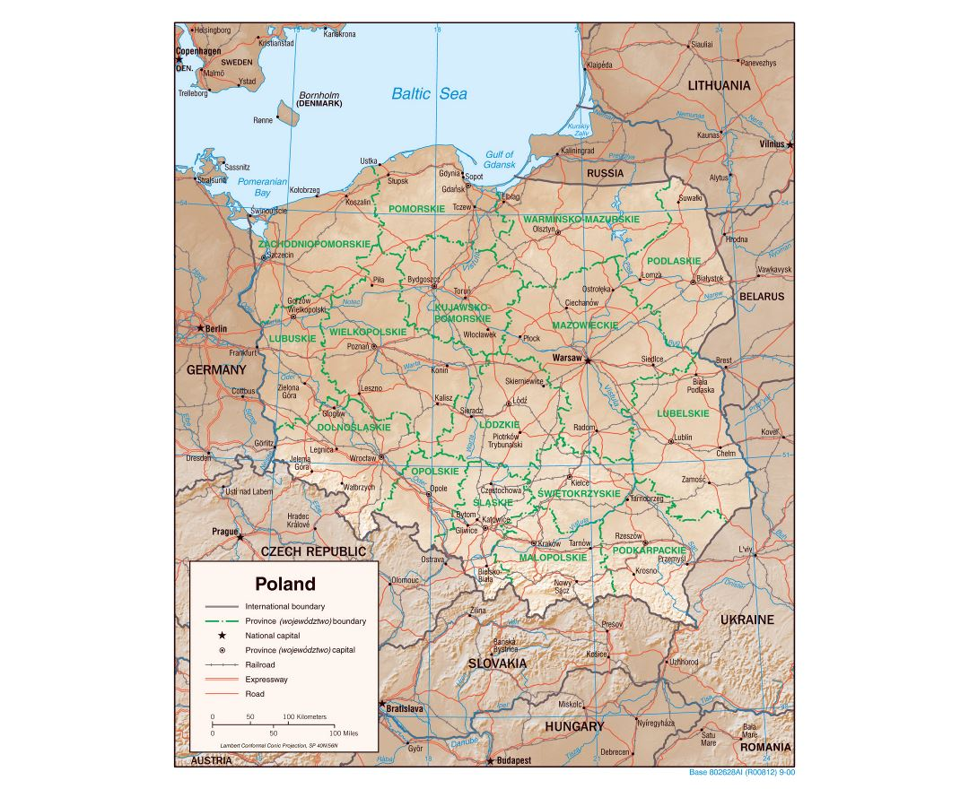 Large detailed political and administrative map of Poland with relief, roads, railroads and major cities - 2000