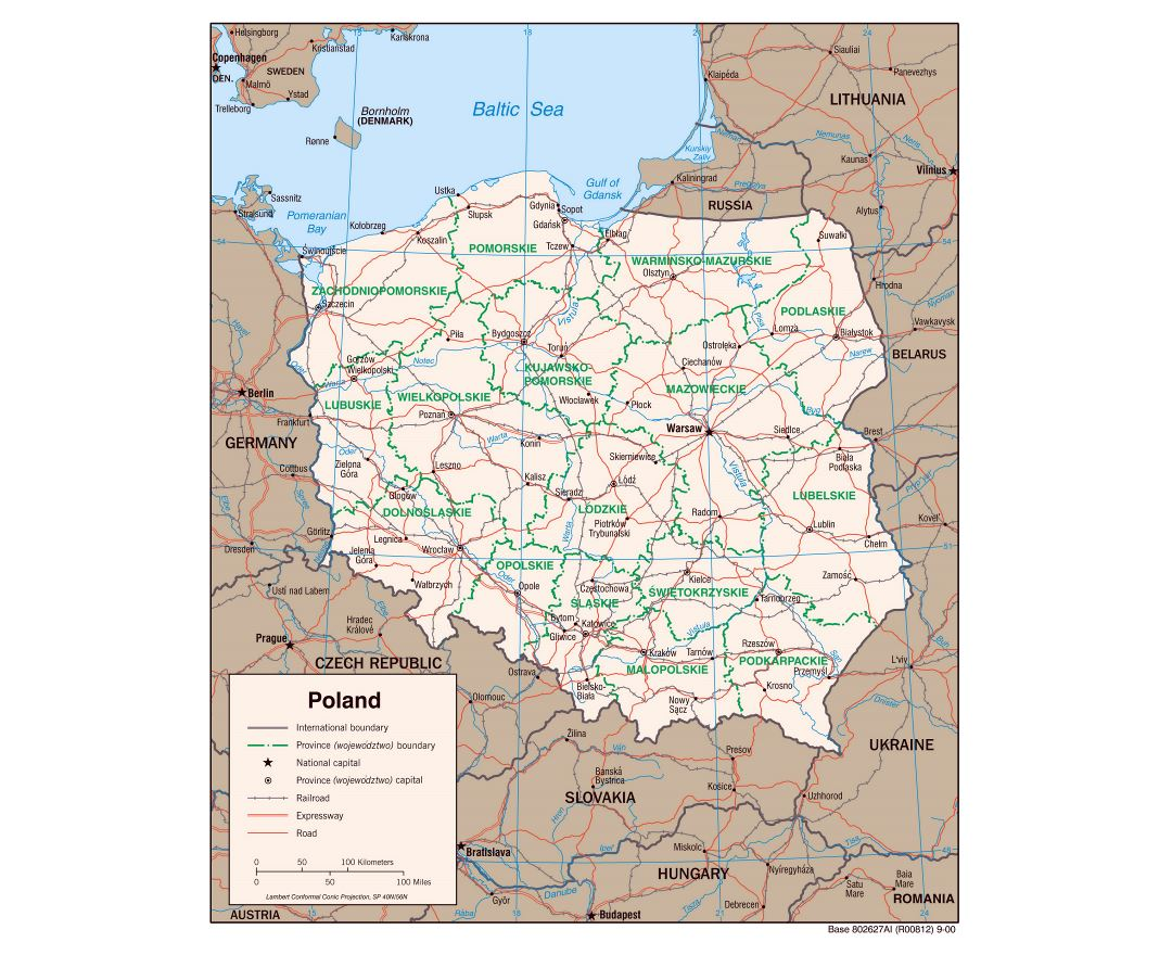 Large detailed political and administrative map of Poland with roads, railroads and major cities - 2000