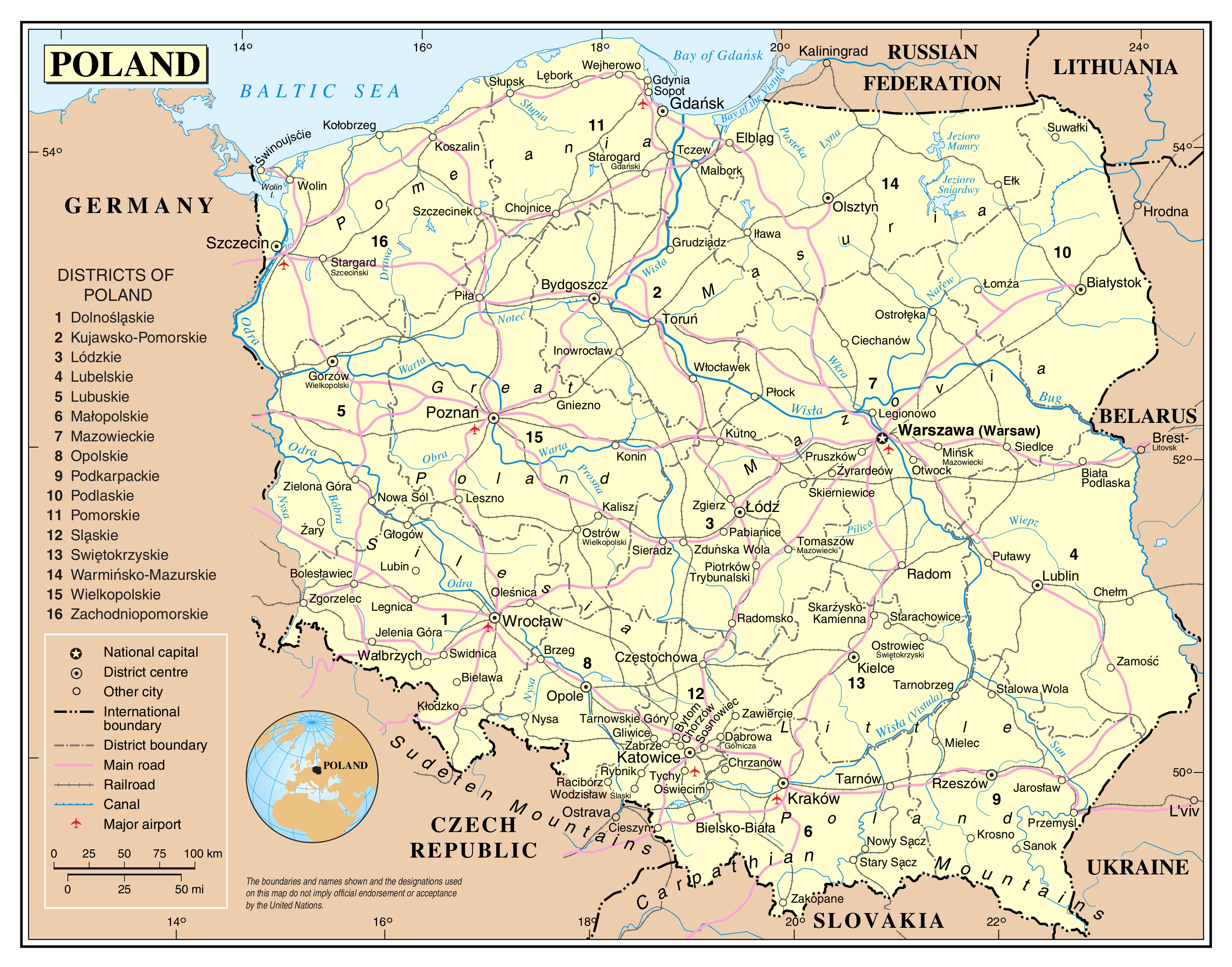 Large detailed political and administrative map of Poland with roads