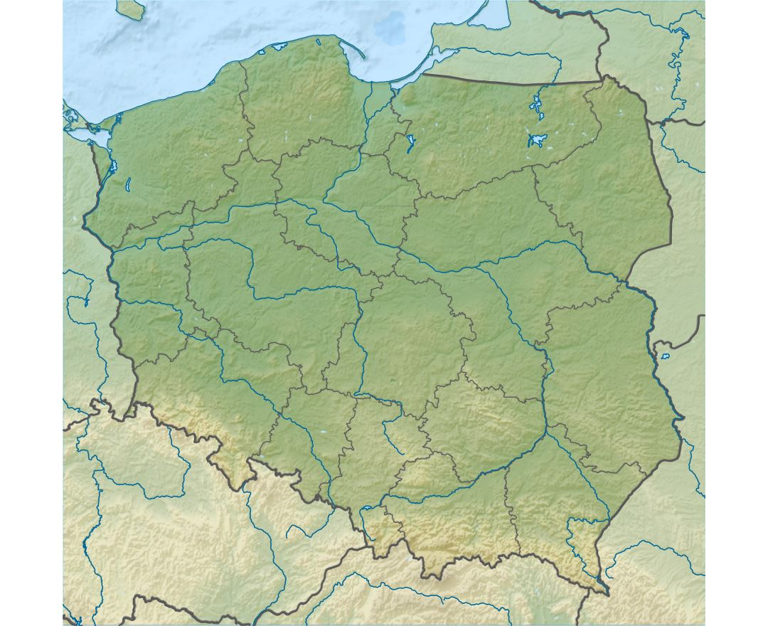 Large detailed relief map of Poland