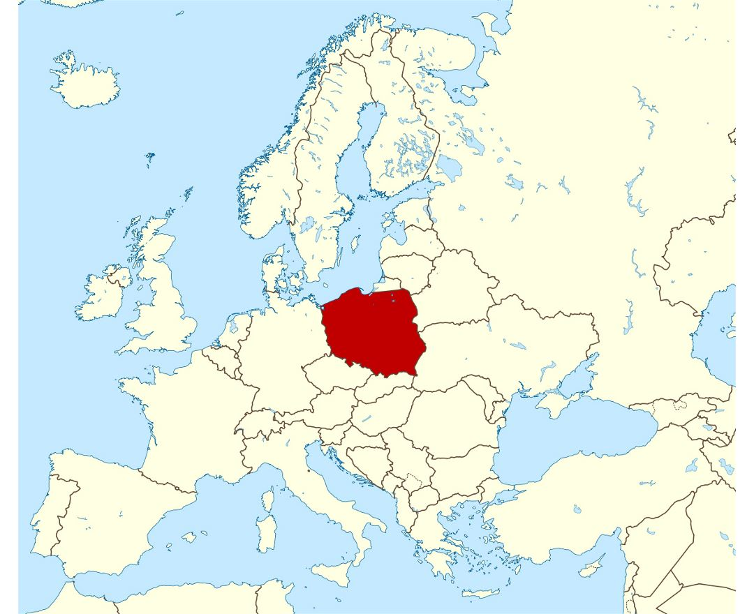 Large location map of Poland in Europe