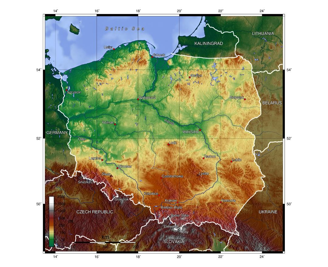 Large physical map of Poland