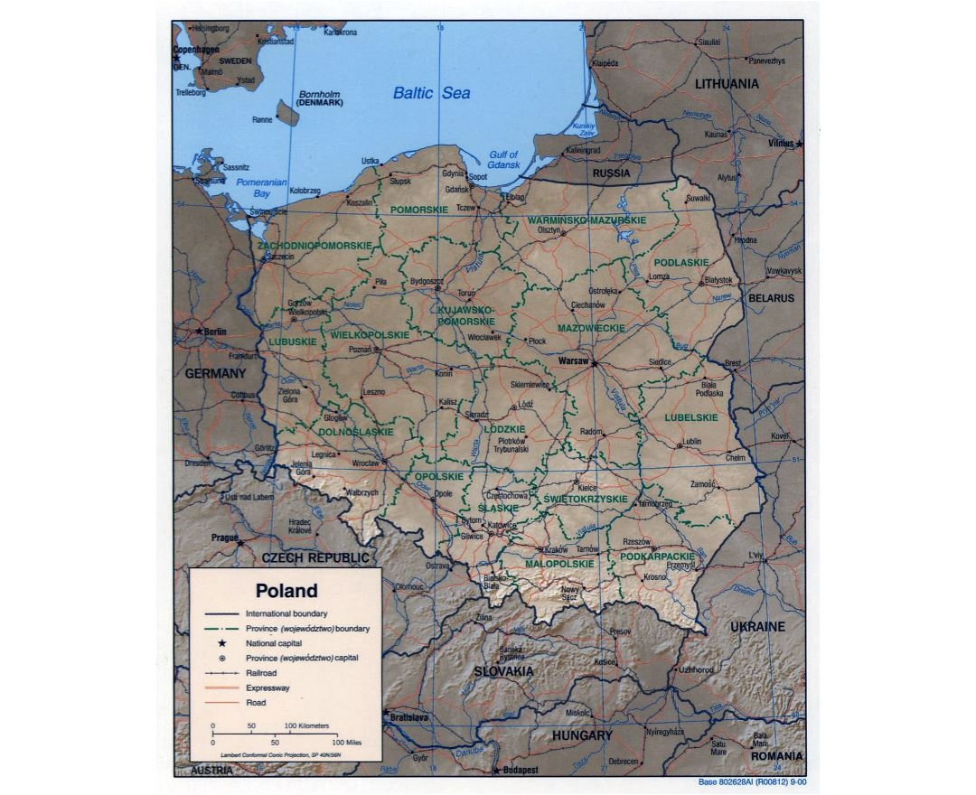 Large political and administrative map of Poland with relief - 2000
