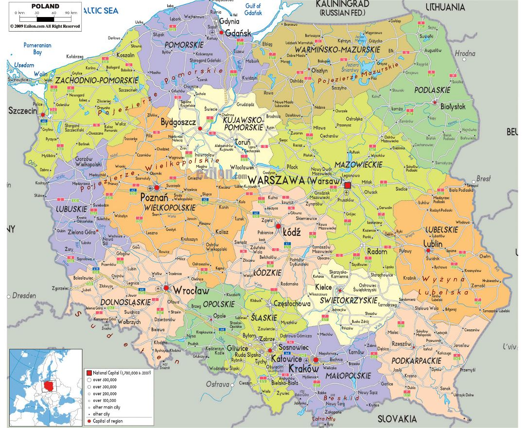 Large political and administrative map of Poland with roads, cities and airports
