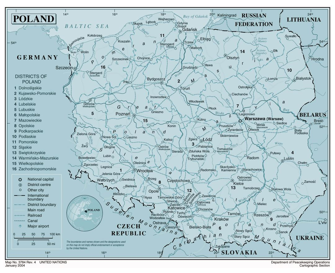 Large political and administrative map of Poland with roads, railroads, major cities and airports
