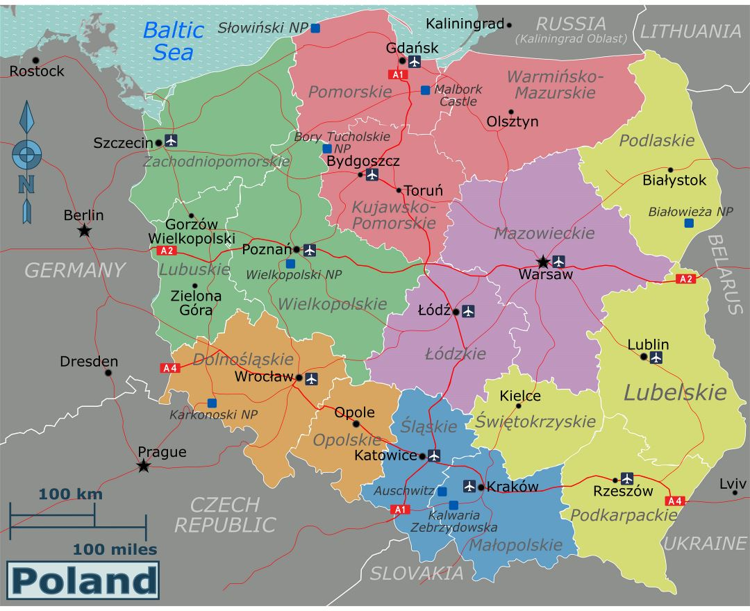 Large regions map of Poland