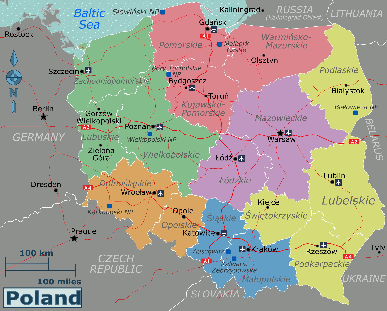 Large Regions Map Of Poland Poland Europe Mapsland Maps Of
