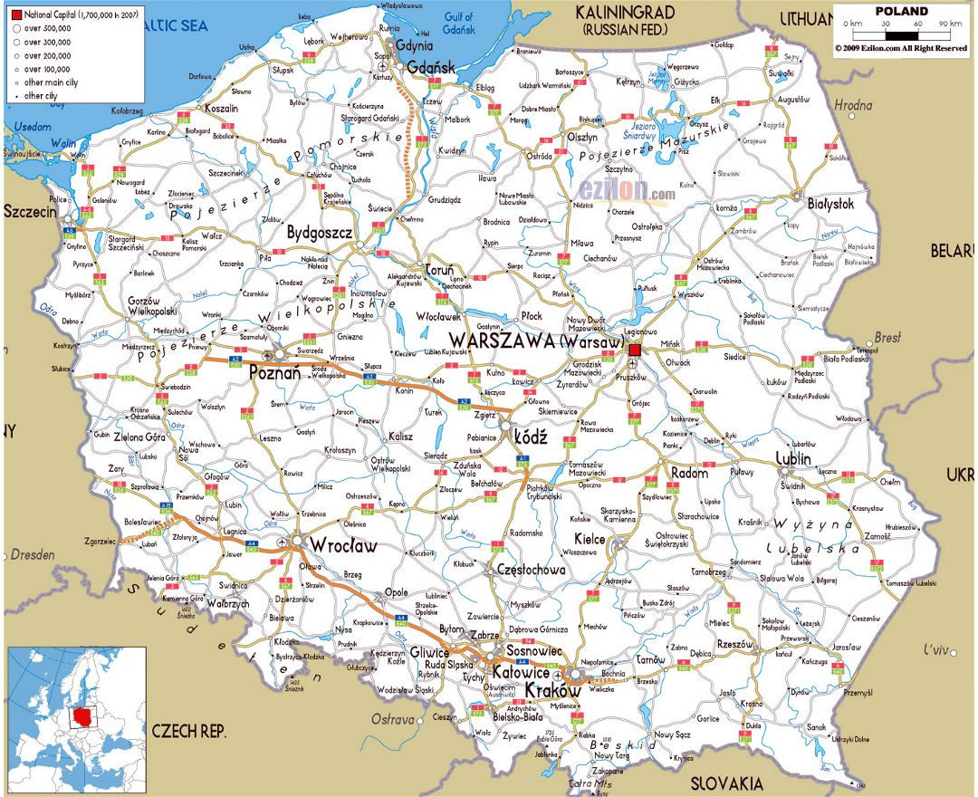 Large road map of Poland with cities and airports