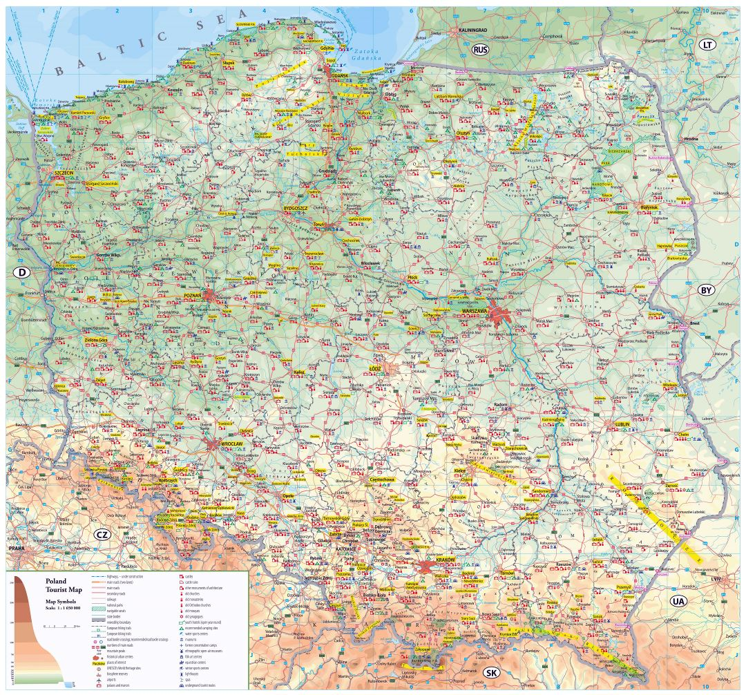Large scale detailed tourist map of Poland