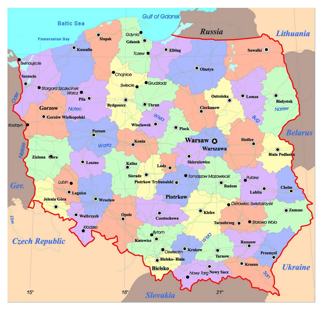 Political And Administrative Map Of Poland With Roads And Major - Poland map