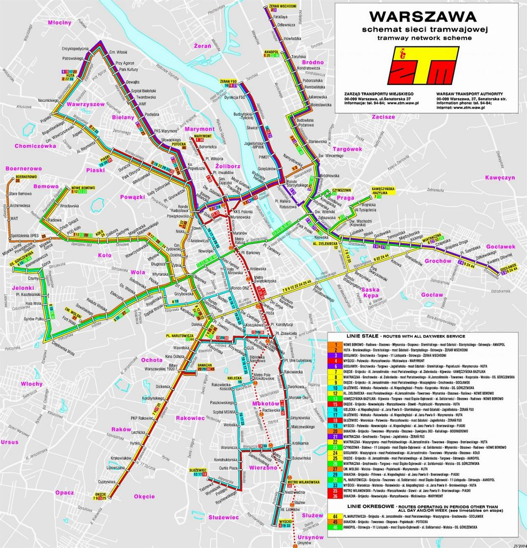 Detailed tram communication map of Warsaw city