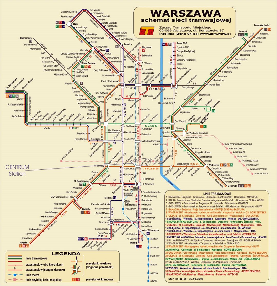 Detailed tram map of Warsaw city
