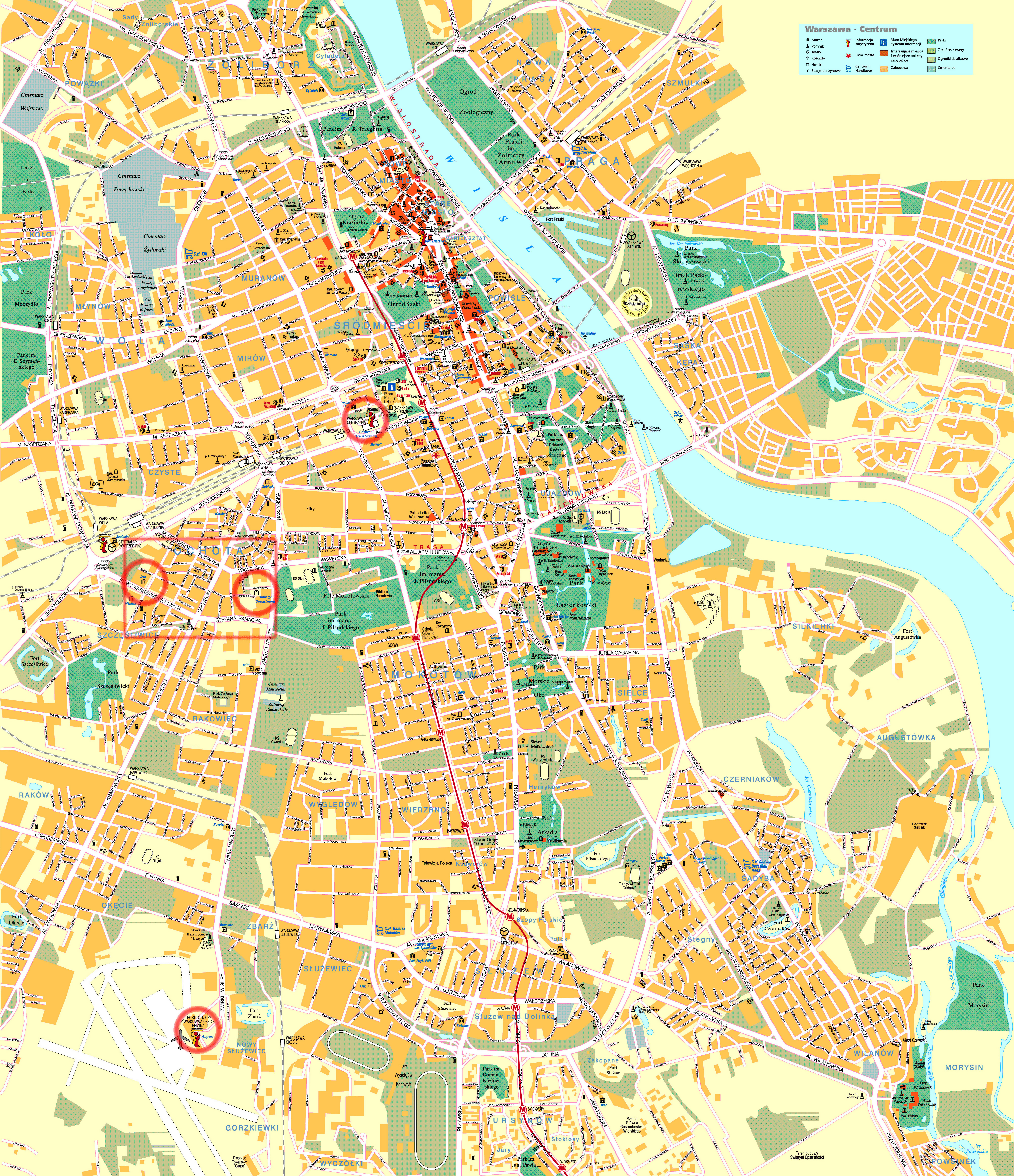 Large detailed road and tourist map of Warsaw city center with