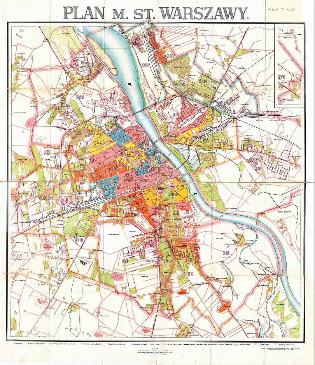 Large scale detailed old city plan of Warsaw - 1924