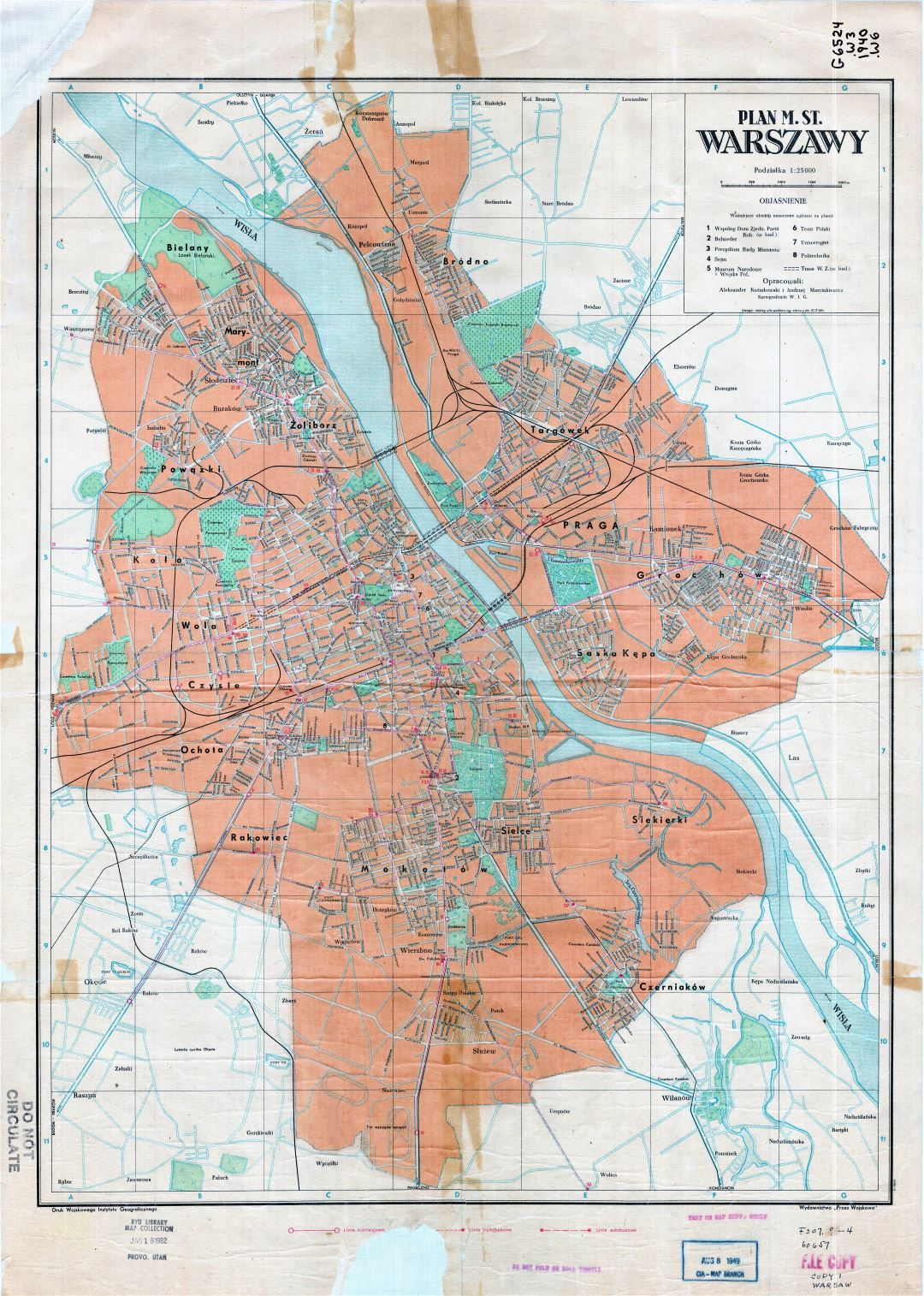 Large scale detailed old city plan of Warsaw - 1948