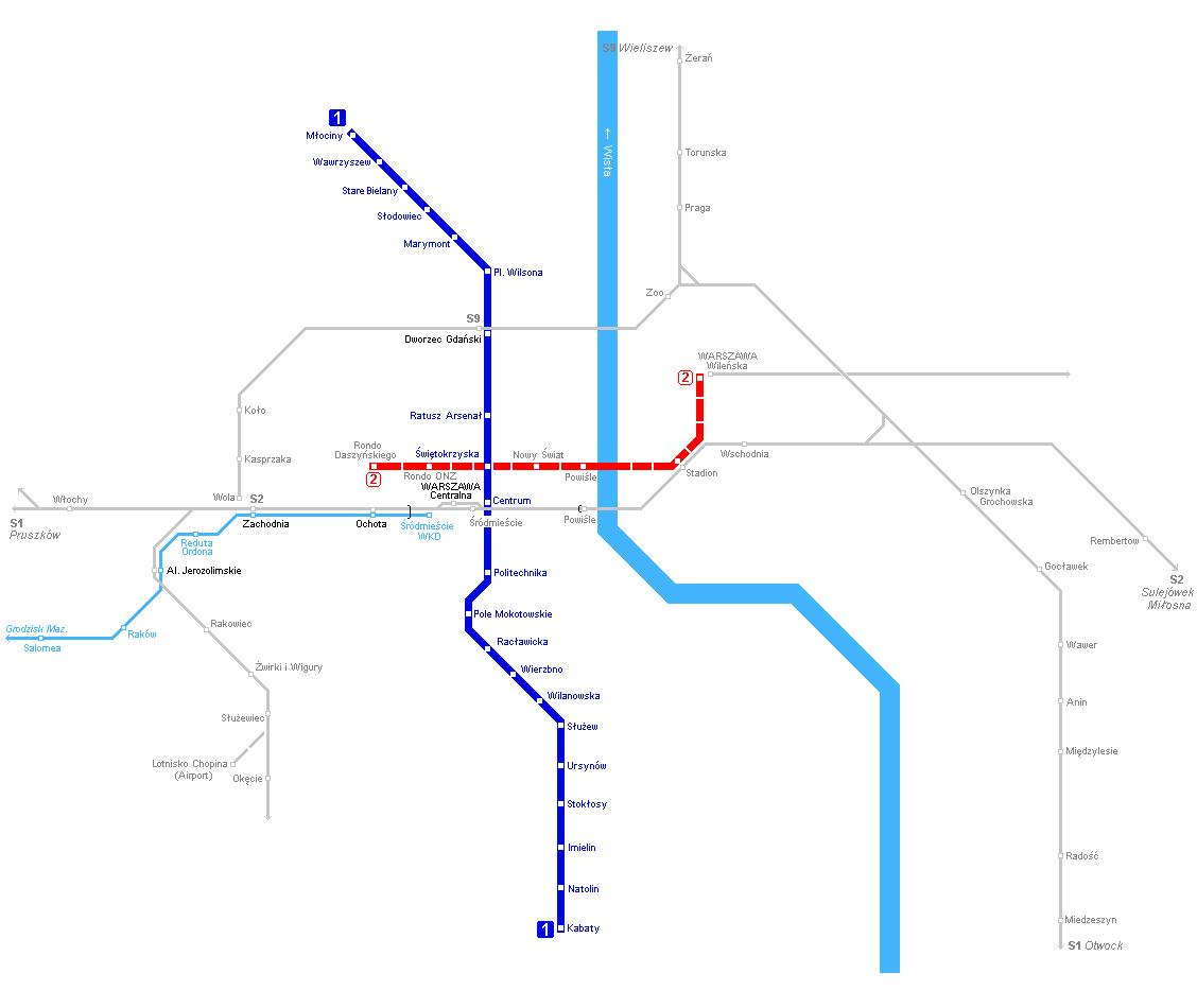 Warsaw Subway Map