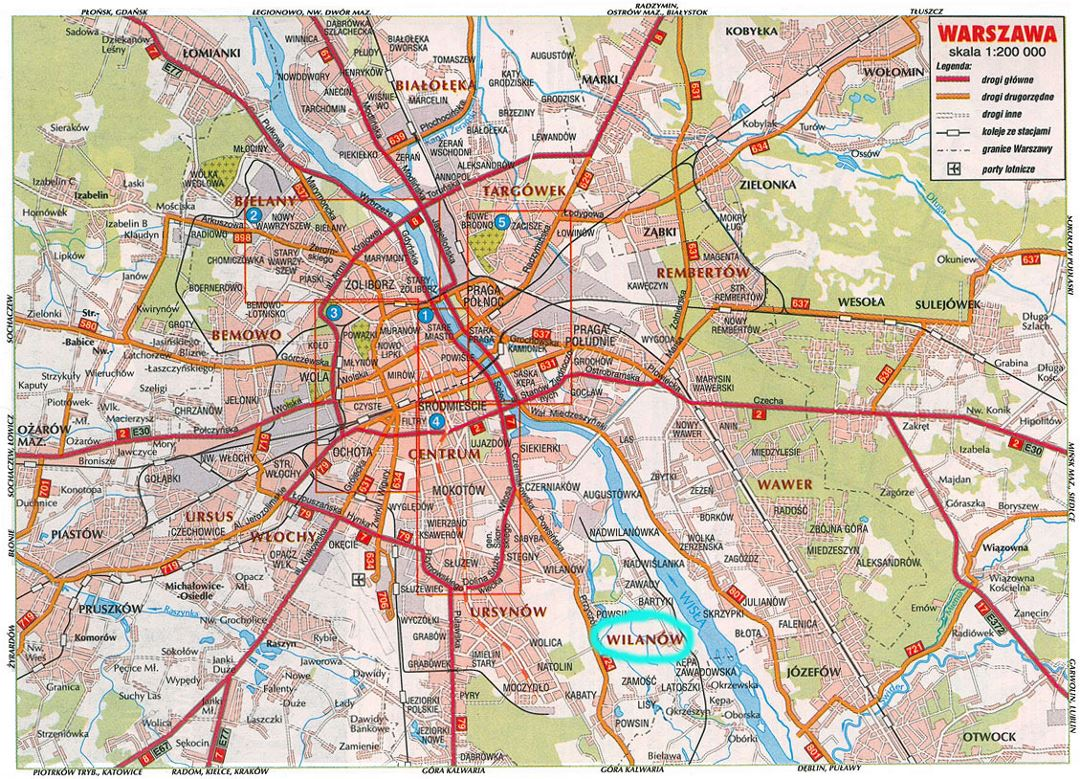 Road map of Warsaw city