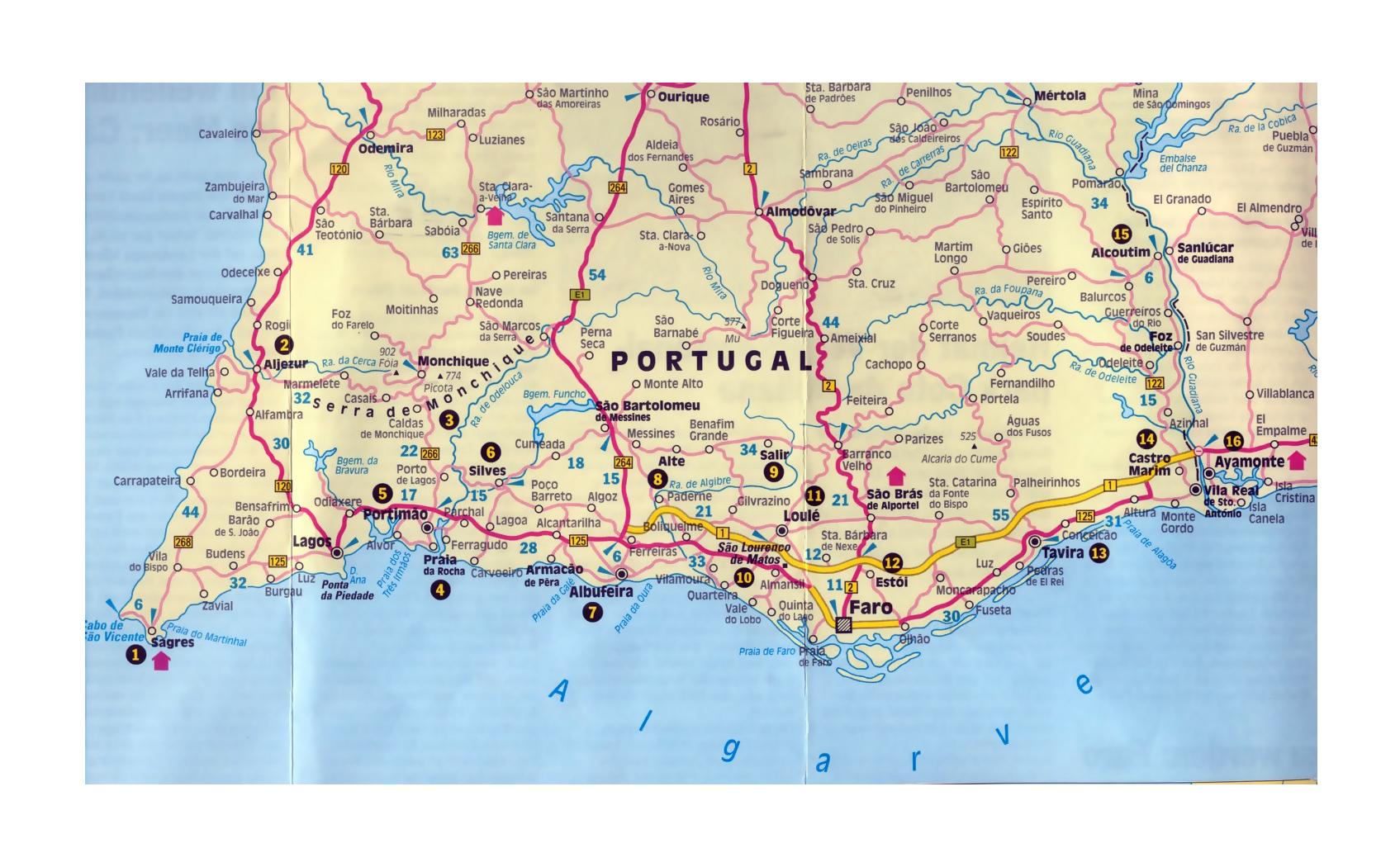 Map Of Algarve Detailed road map of Algarve with other marks | Algarve | Portugal  Map Of Algarve