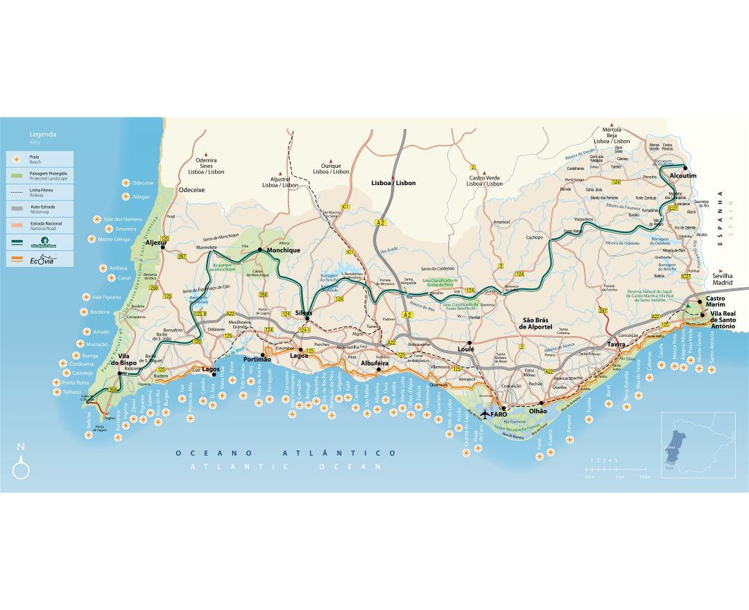 Maps of Algarve Detailed map of Algarve in English