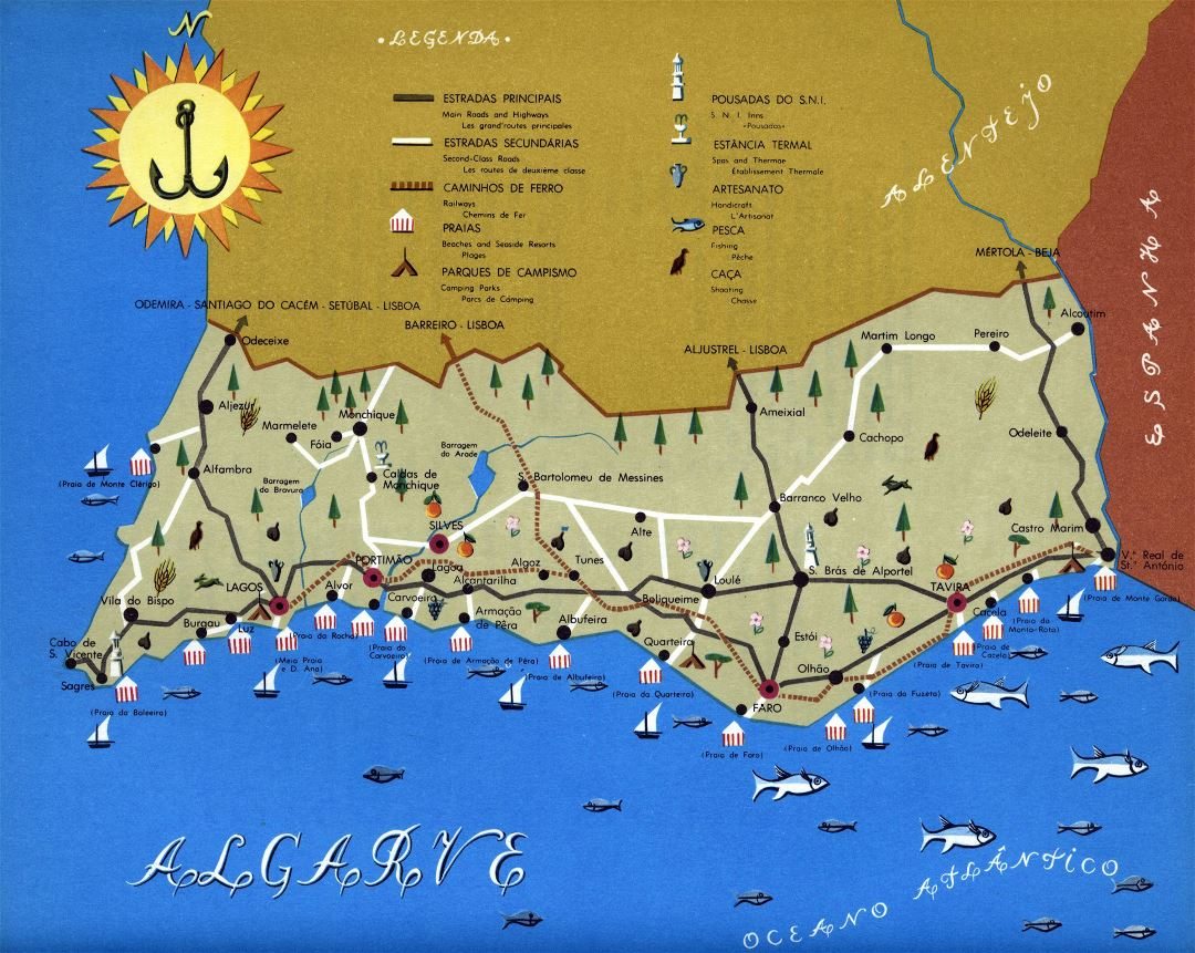 Large detailed tourist map of Algarve