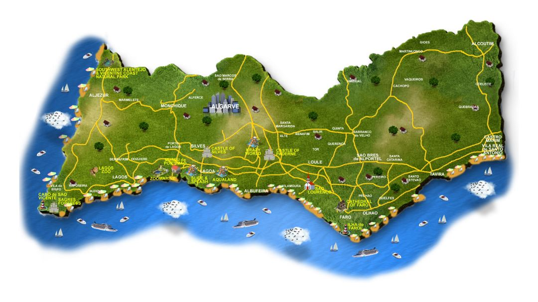 Tourist map of Algarve with roads and cities