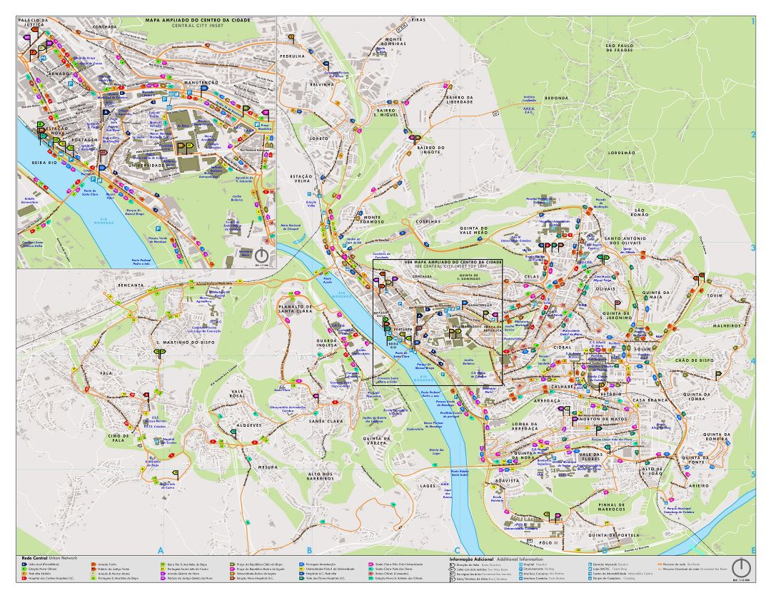 Large detailed tourist map of central part of Coimbra city