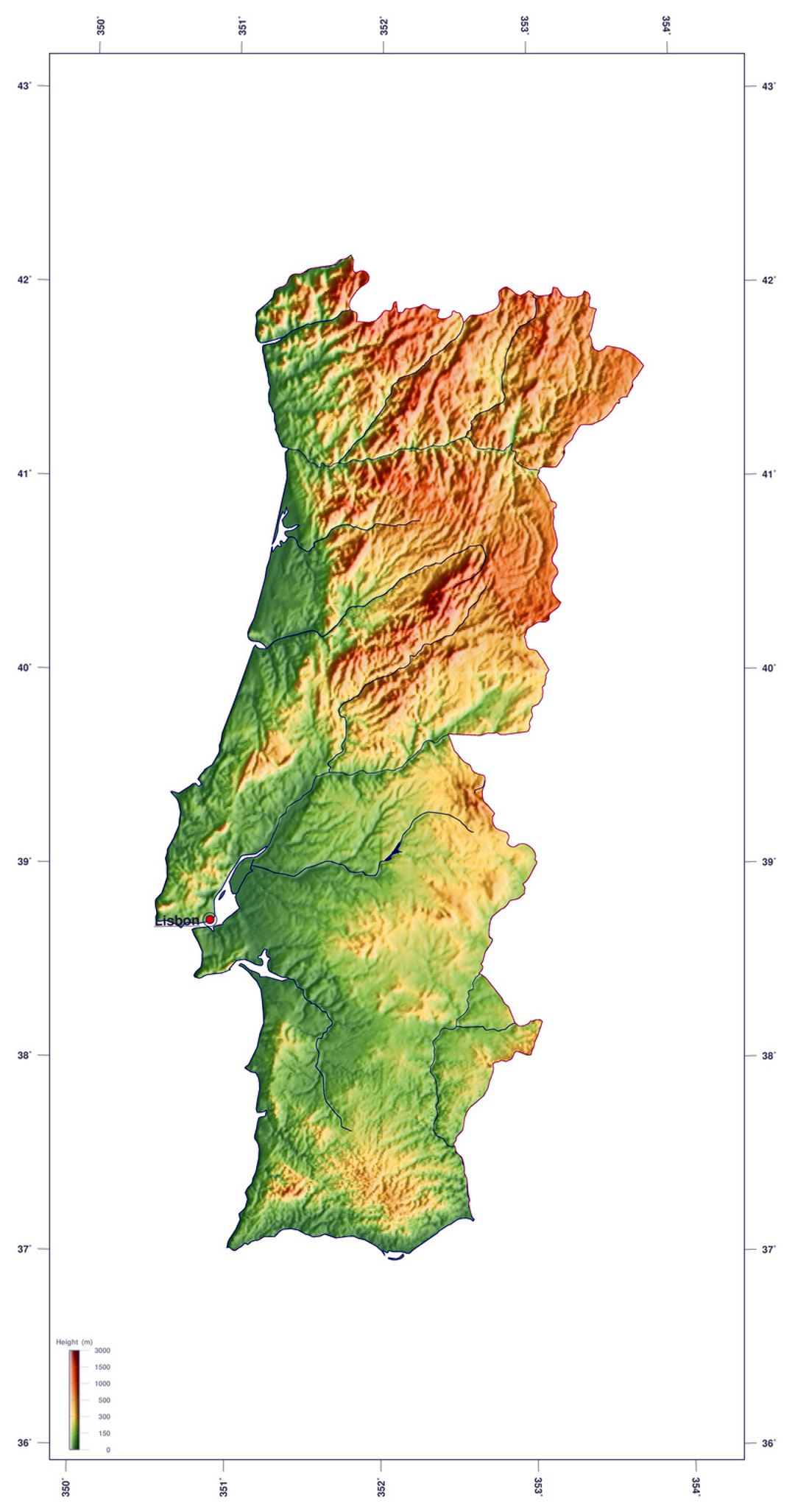 Detailed elevation map of Portugal