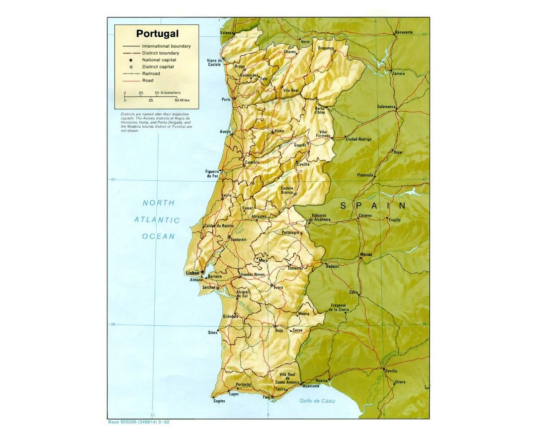 Detailed political and administrative map of Portugal with relief, roads and major cities - 1982