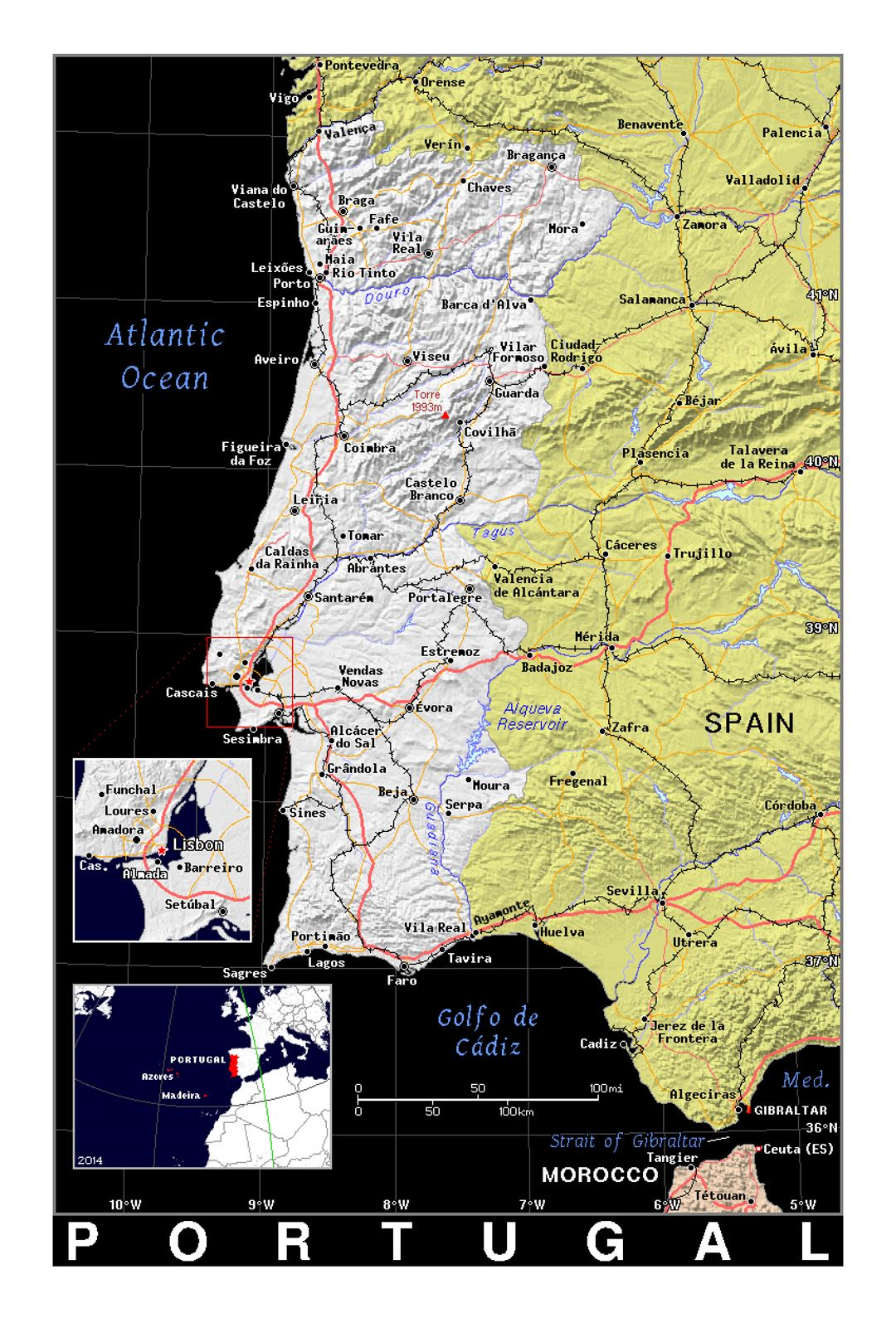 Image of: Detailed Political Map Of Portugal With Relief In Black Portugal Europe Mapsland Maps Of The World