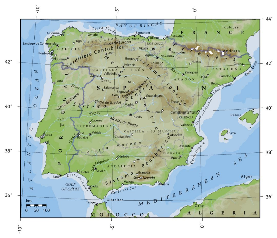 Elevation map of Portugal and Spain Portugal Europe Mapsland