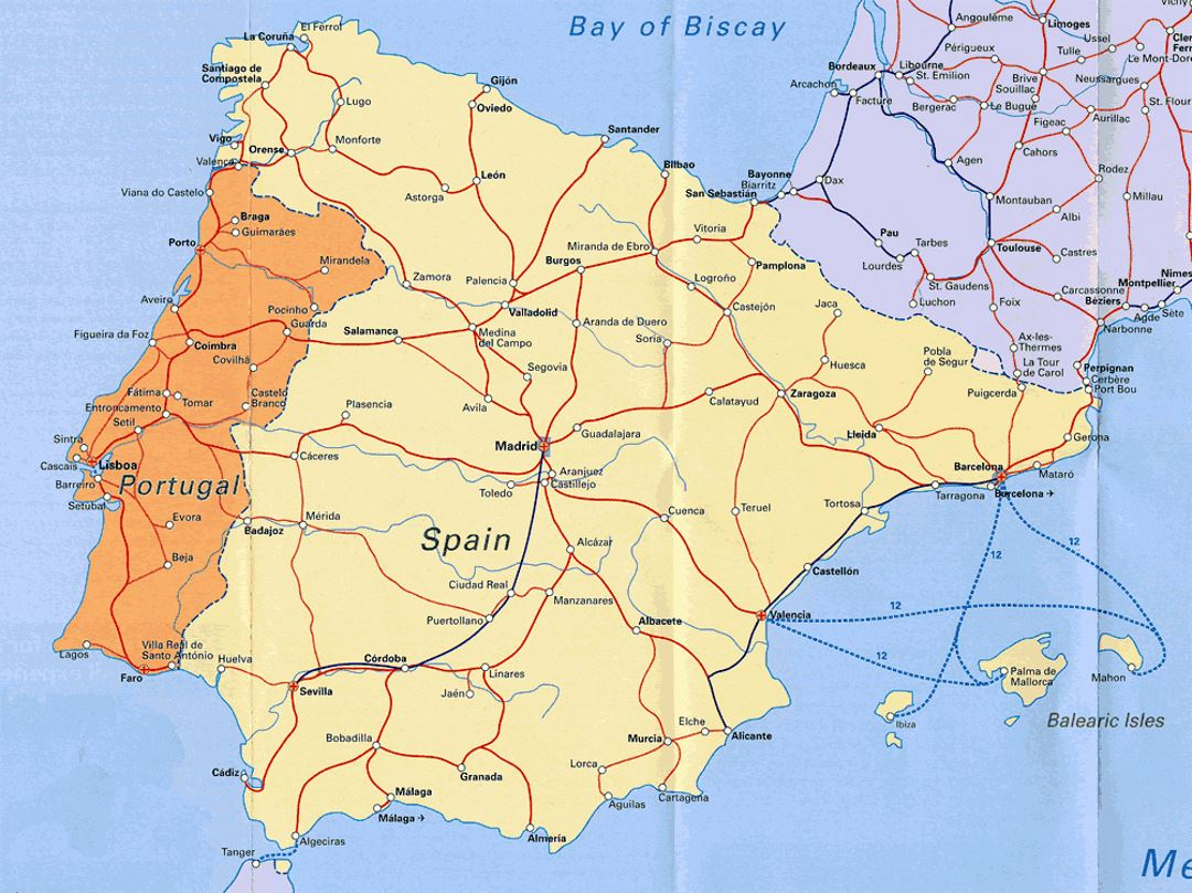 Highways map of Portugal and Spain | Portugal | Europe | Mapsland
