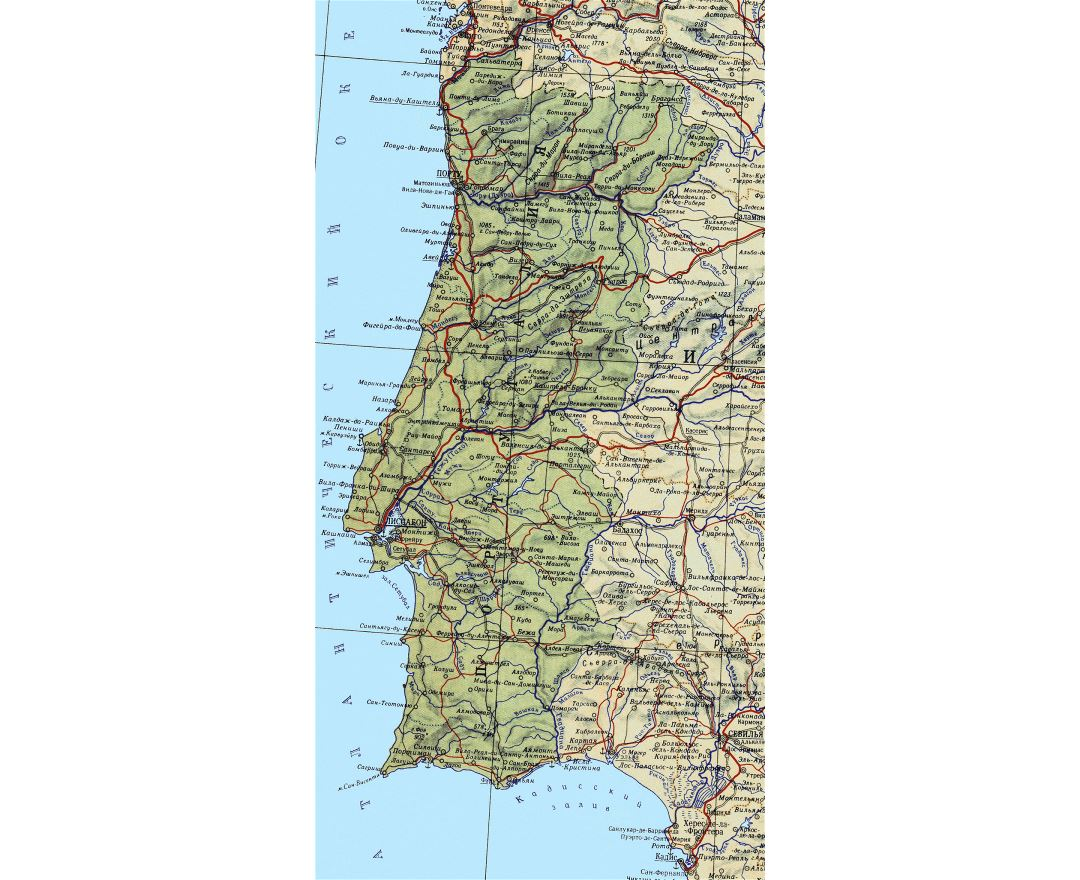 Large detailed map of Portugal with roads, major cities and sea ports in russian