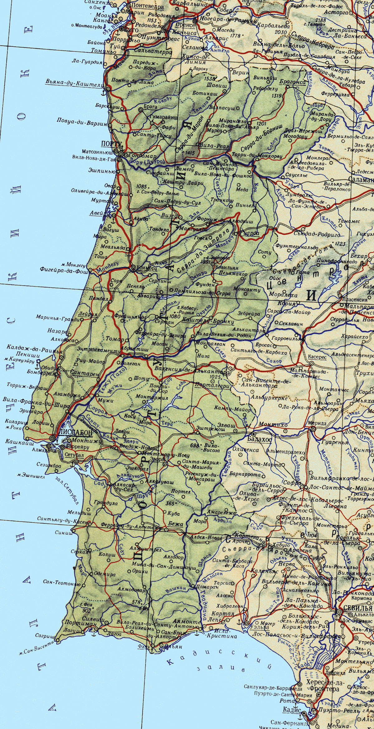 Large Detailed Map Of Portugal With Roads Major Cities And Sea - Portugal map sea