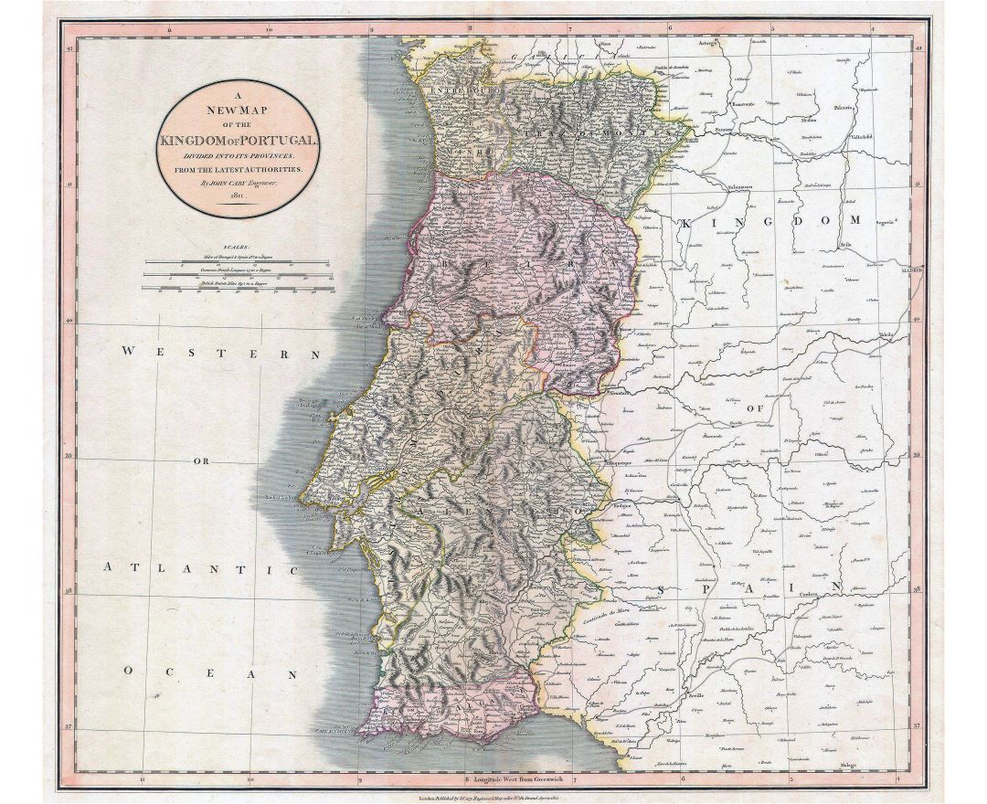 Large detailed old political and administrative map of Portugal with relief, roads and cities - 1811