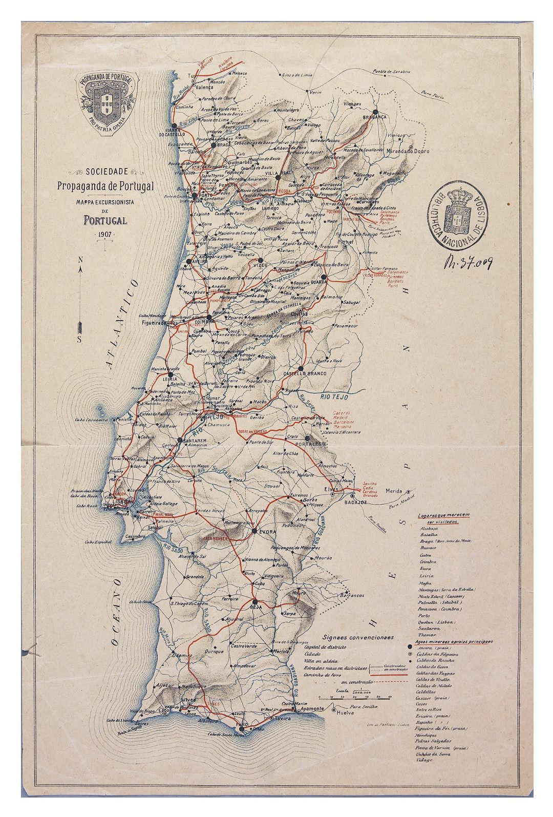 Large detailed old road map of Portugal with cities - 1907
