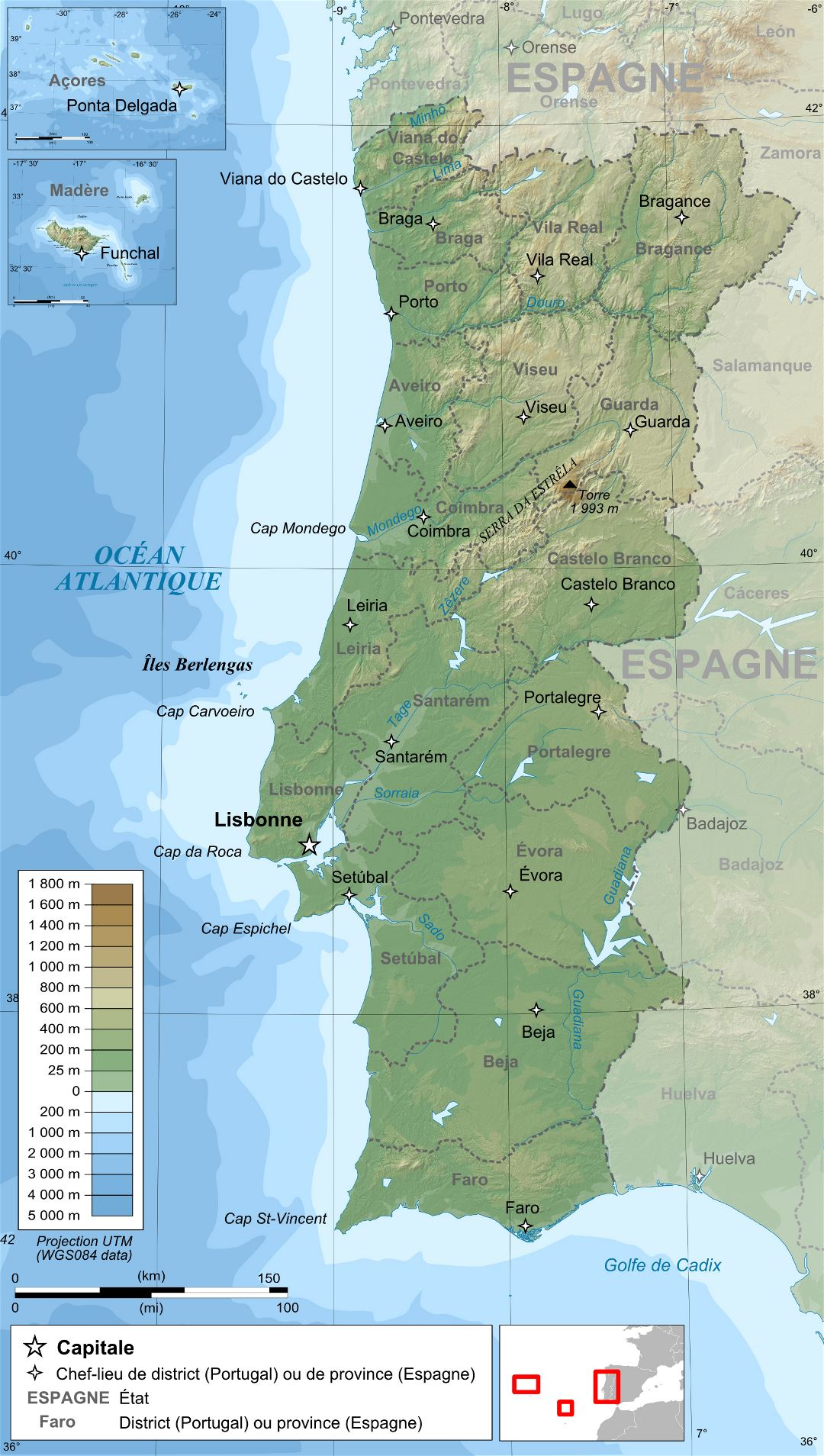 Large detailed physical map of Portugal