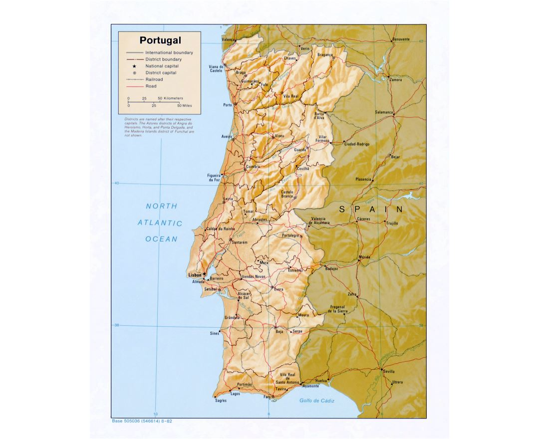 Large detailed political and administrative map of Portugal with relief, roads and major cities - 1982