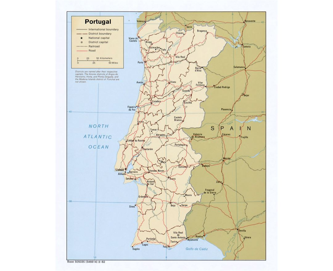 Large detailed political and administrative map of Portugal with roads and major cities - 1982