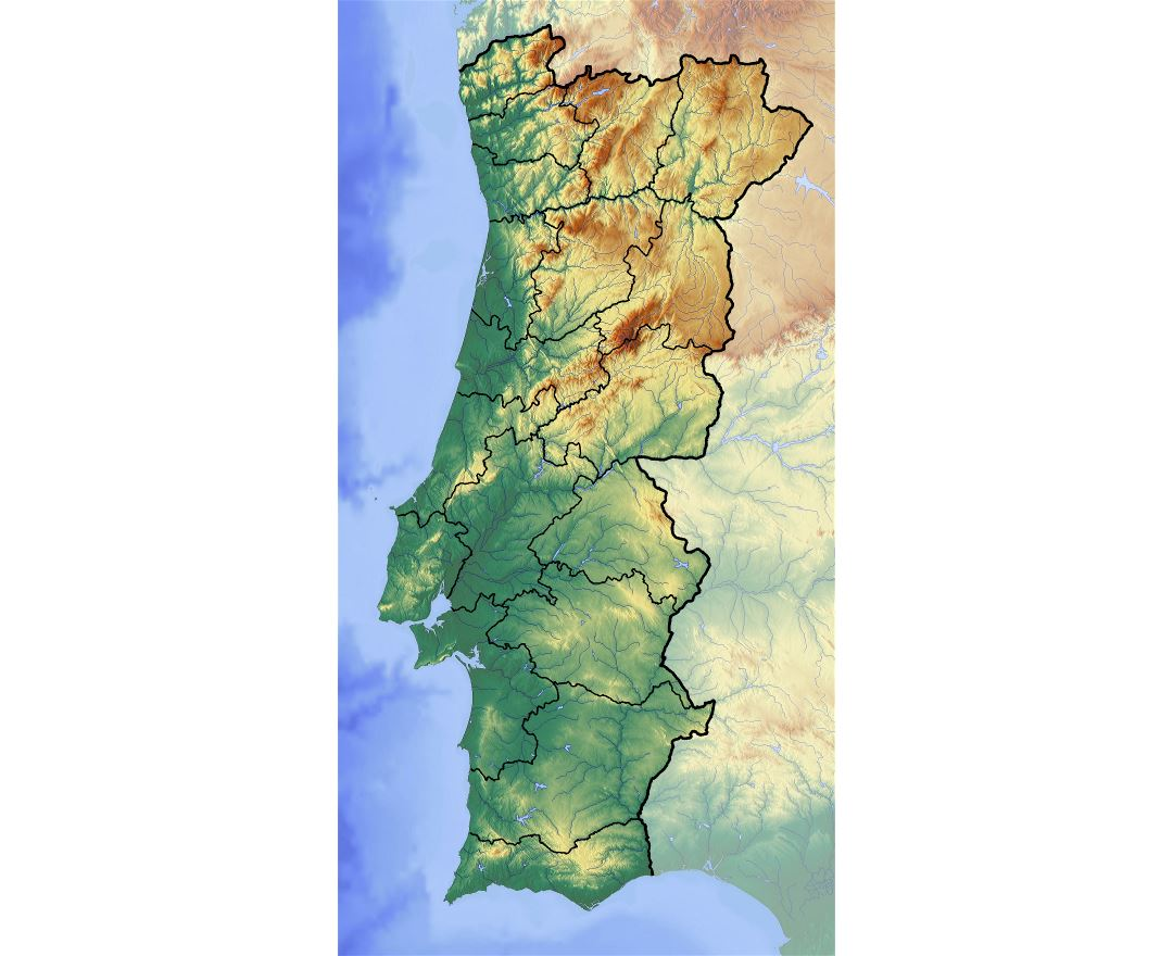 Large detailed relief map of Portugal