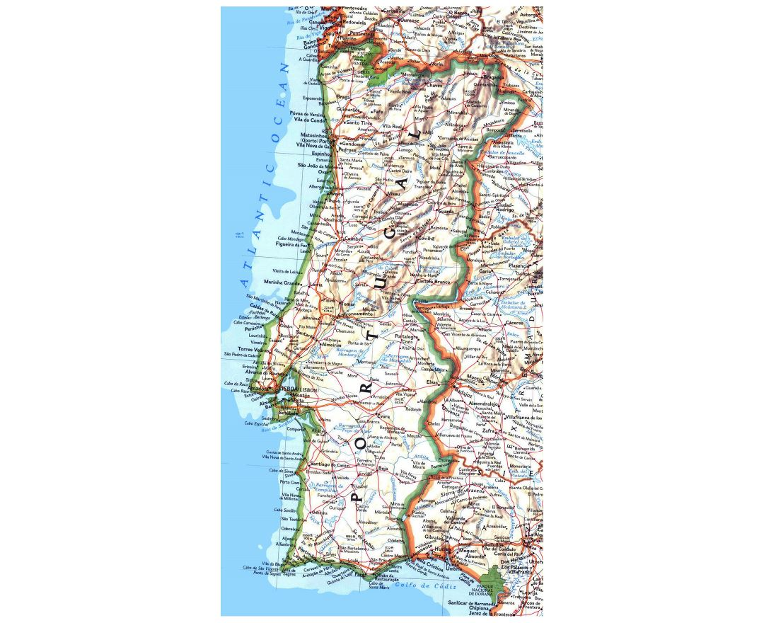 Large detailed road map of Portugal with relief, cities and airports