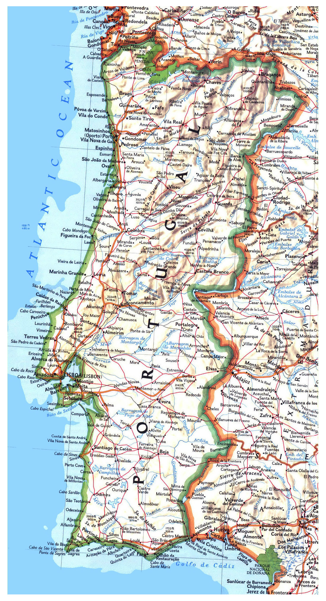 Large Detailed Road Map Of Portugal With Relief Cities And