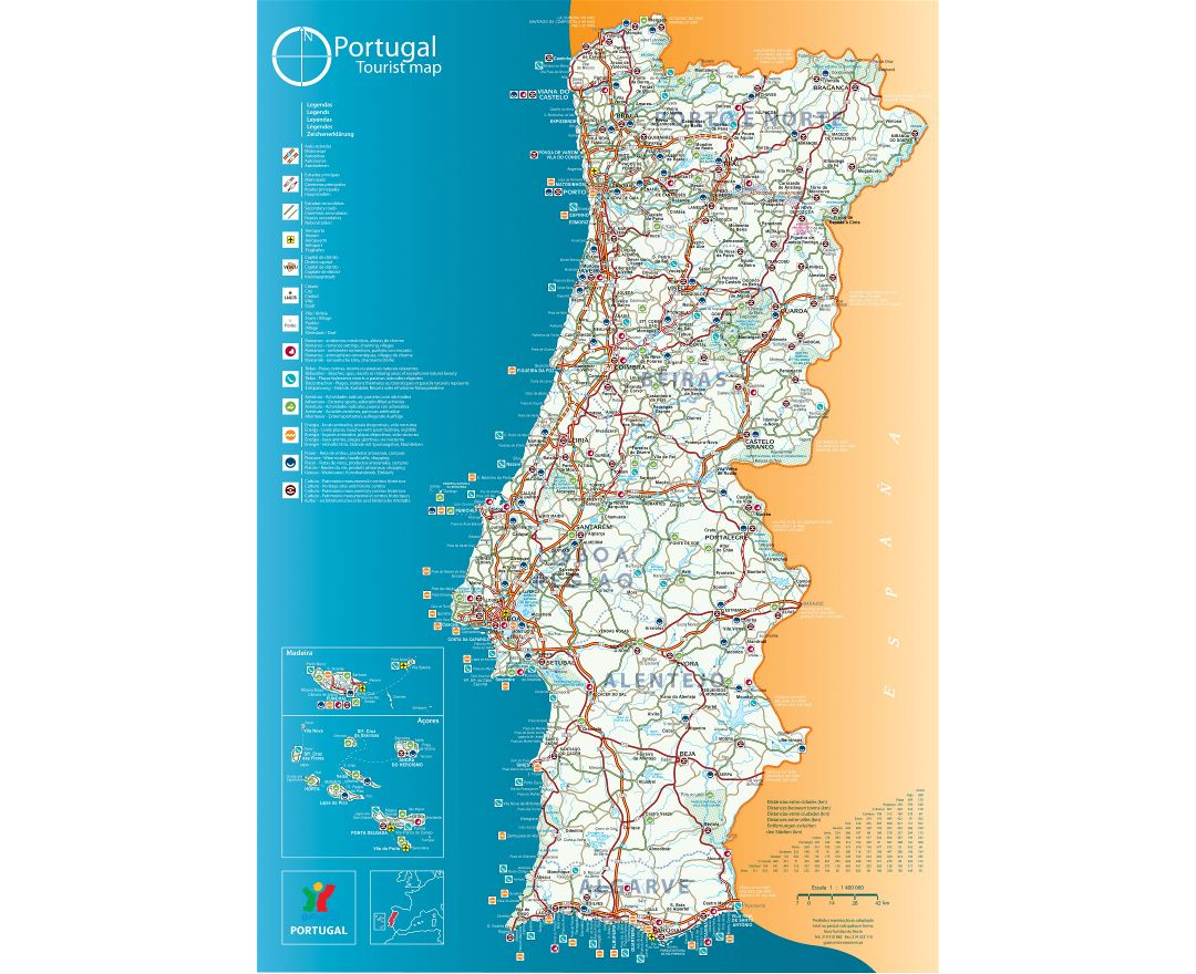 Large detailed tourist map of Portugal