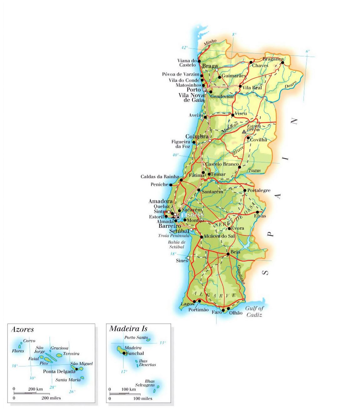 Large Elevation Map Of Portugal With Roads Cities And Airports - Portugal map airports