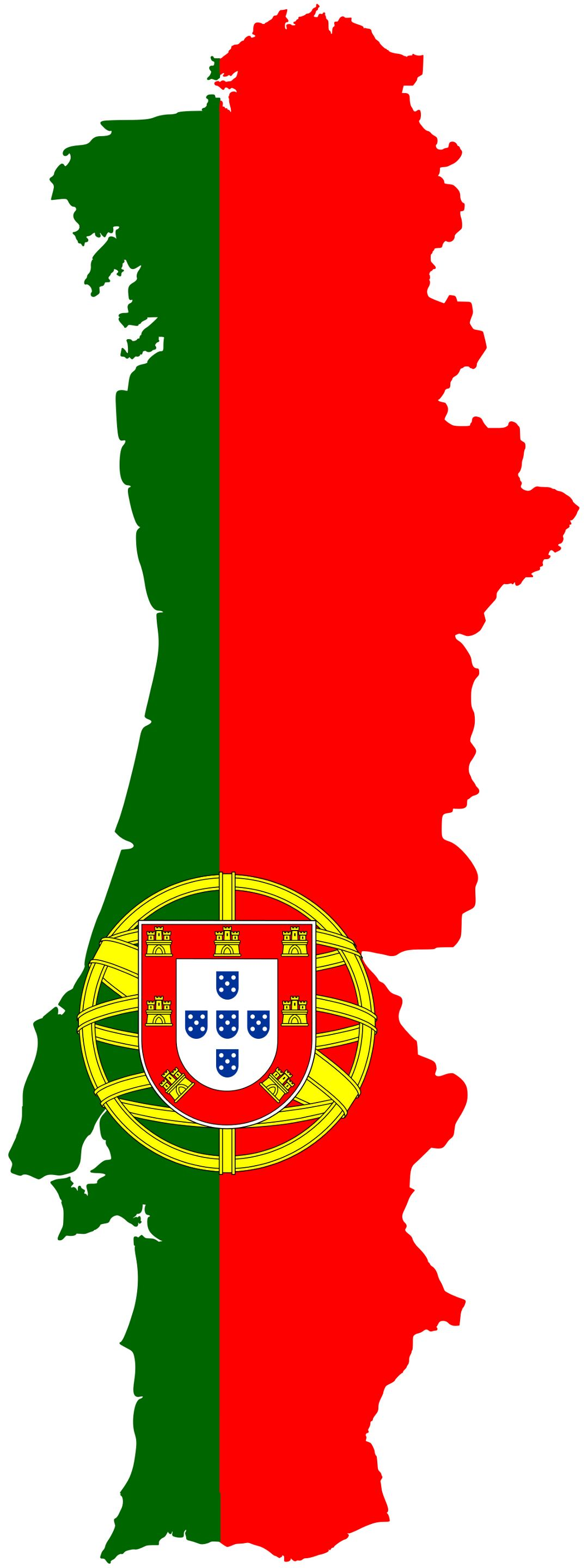 Large flag map of Portugal