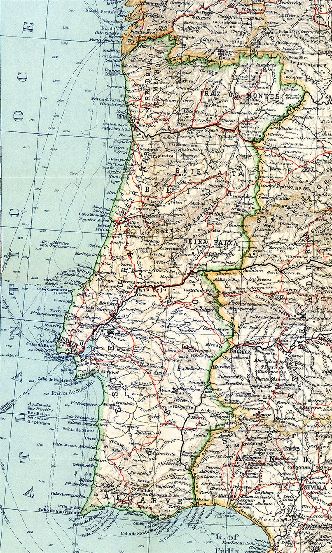 Large map of Portugal with relief, roads and cities