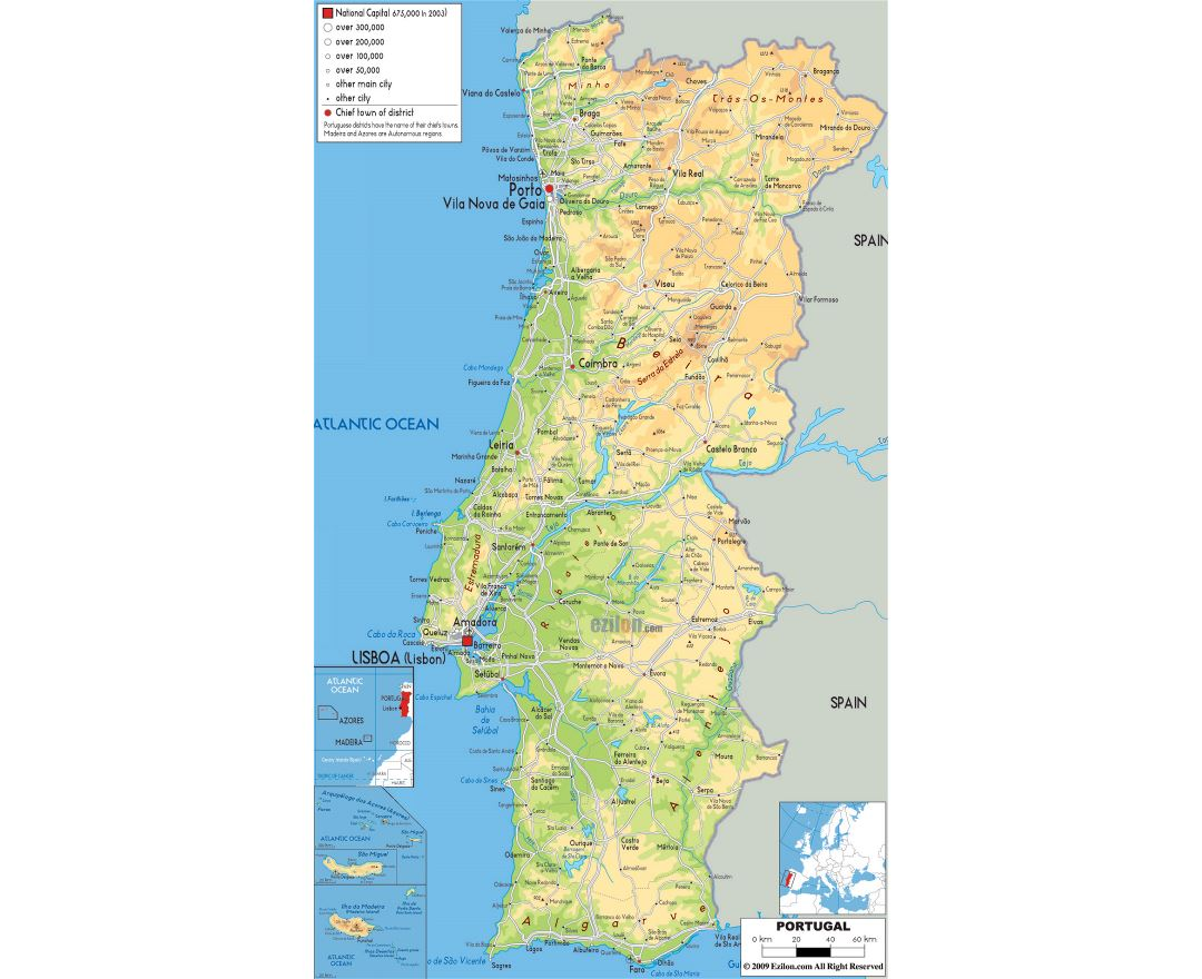 Large physical map of Portugal with roads, cities and airports