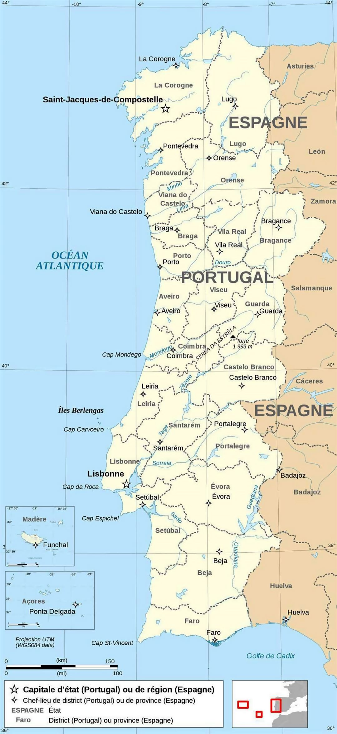 Large Political And Administrative Map Of Portugal With Major - Portugal map major cities