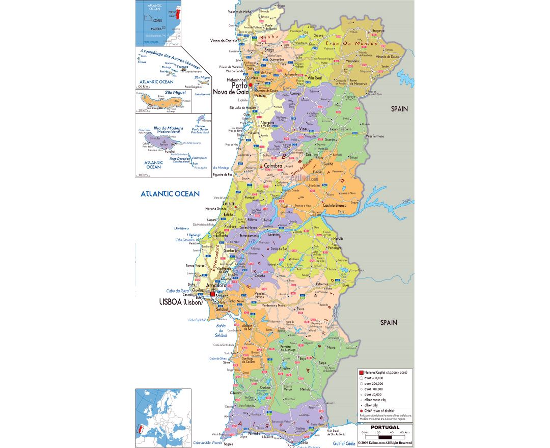 Maps of Portugal Detailed map of Portugal in English Tourist map