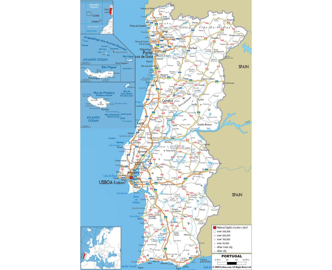 Large road map of Portugal with cities and airports